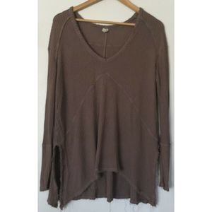 Free People Oversized V Neck Thermal Top